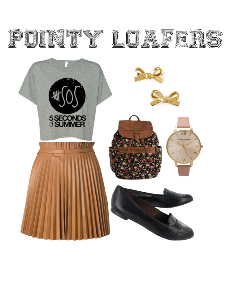 """Feeling preppy? Nothing says preppy and chic like a pair of loafers. These Hush Puppies """"Ophelia Trave"""" pointed toe loafers add the perfect touch of class to your outfit when paired with a pleated mini skirt and statement tee."""