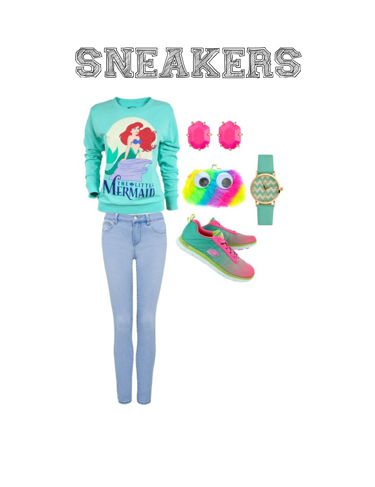 """Set your inner kid free when you pair these Skechers """"Flex Appeal New Rival"""" runners with a graphic cartoon sweatshirt and skinny jeans for a fun, colourful day."""