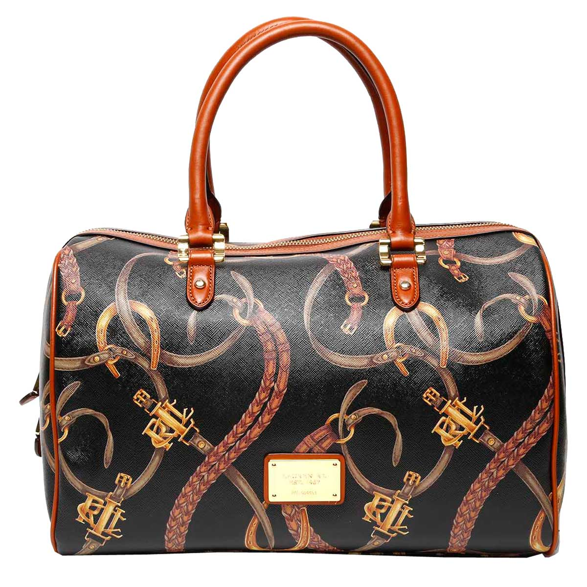 """The intertwining belts and polished hardware of this Lauren by Ralph Lauren """"Caldwell Belting Barrel"""" satchel will make a chic, timeless addition to your wardrobe."""