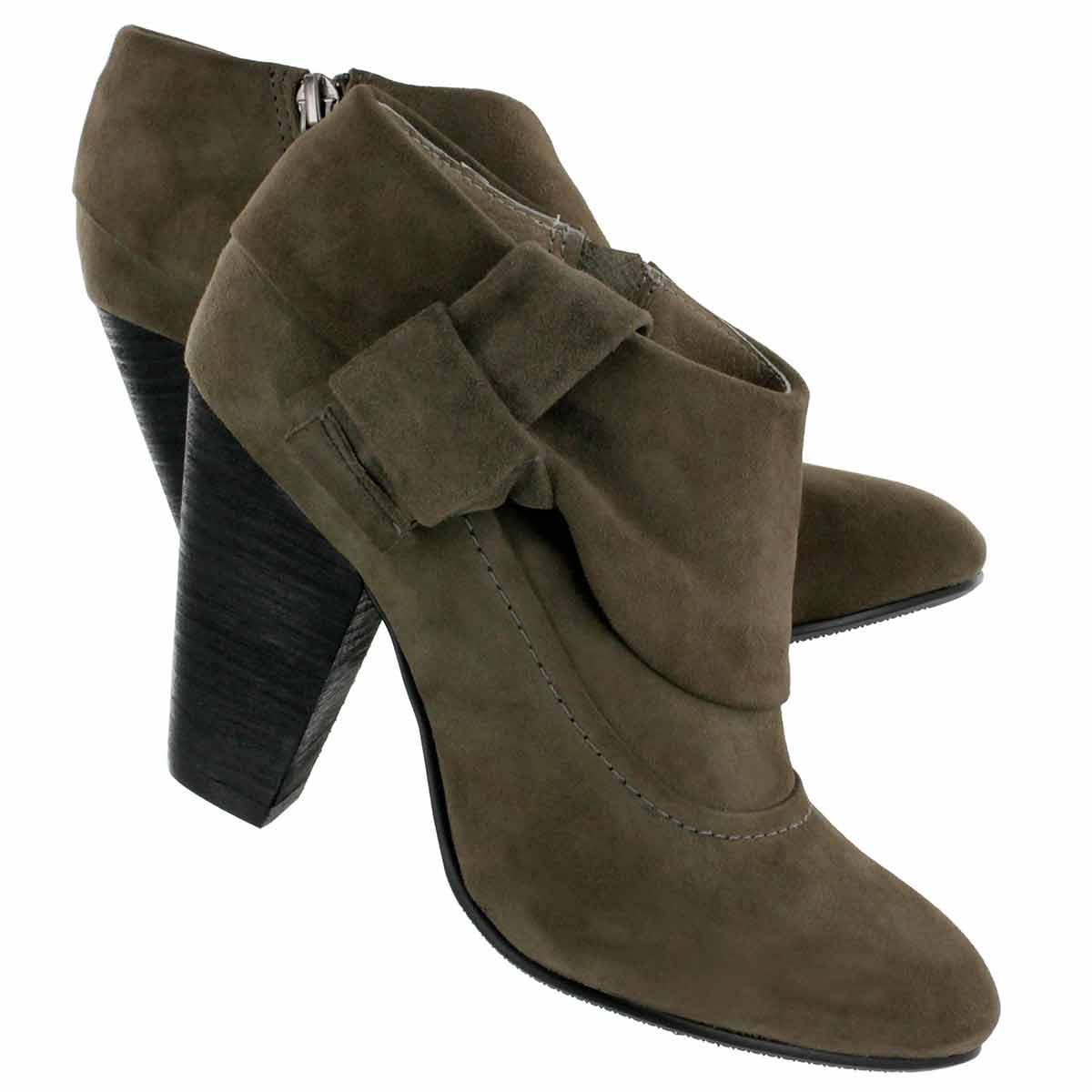 """Bootie + Shoe = Shootie. We love the unique pewter shade of SoftMoc's """"Lady"""" lamb suede shootie. It is the perfect neutral colour to complement your fall favourites."""