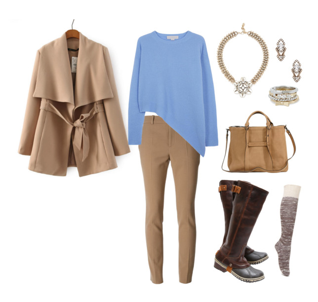 "Monochromatic is so in. So are neutral colours like these camel coloured pants and overcoat. Go for a demure look when you pair your Sorel ""Slimpack Riding"" tall boots with your favourite neutral palette."