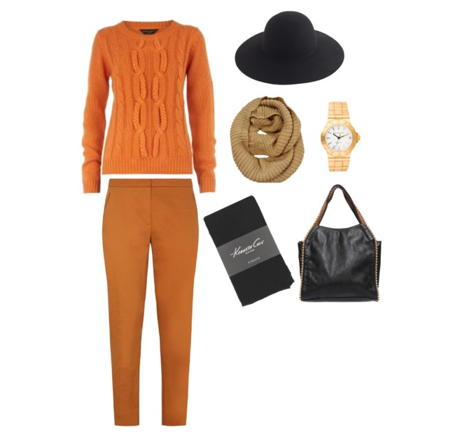 "Due to its unpredictability, dressing for winter weather can be an arduous task for those of us who are a bit more style conscious. Stress no more though! Kenneth Cole's black, textured ""Fancy"" tights are light enough to layer underneath these Persian orange dress pants without making you feel too warm when you are indoors."
